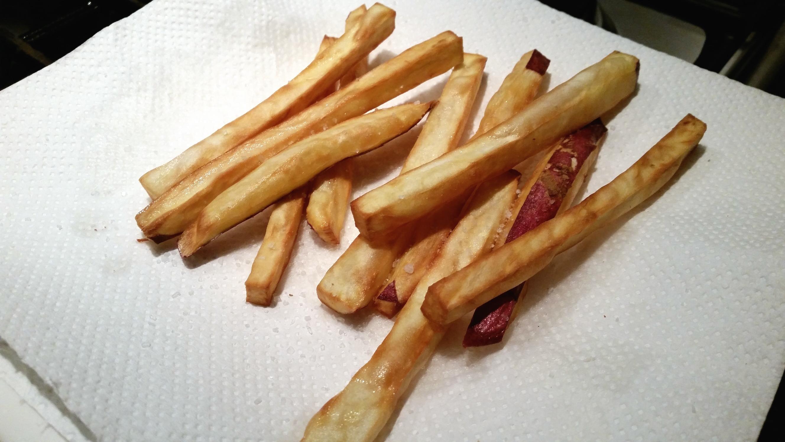 friet maken van zoete aardappel